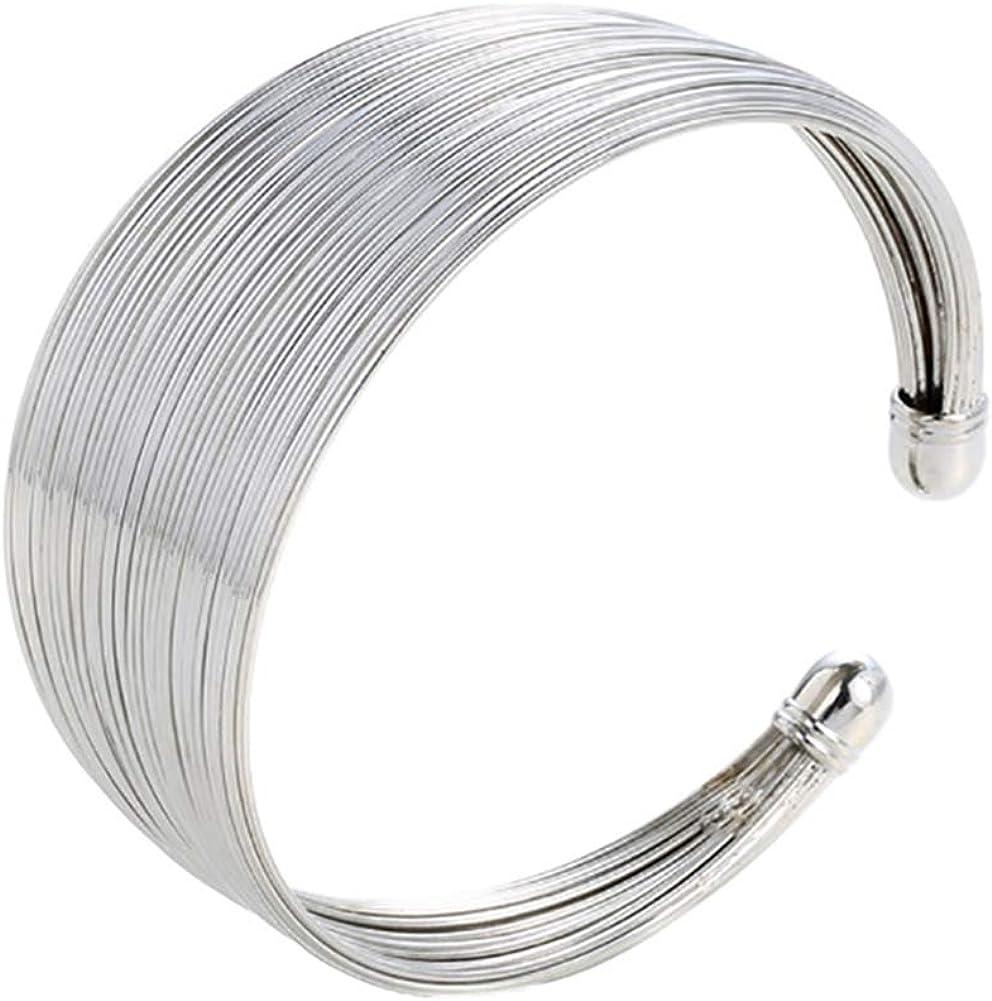 Fashion Bangle Bracelet for Women Girls,Fashion Multi Wire Circle Opening Bangle Adjustable Cuff Bracelet Gift - Golden