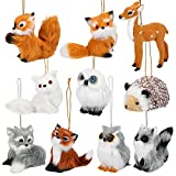 10 Pieces Plush Animal Christmas Ornaments Woodland Faux Fur Animal Ornaments Plush Animal Hanging Ornaments for Christmas Tree Keychain Backpack Hanging Home Party Decoration, 10 Styles