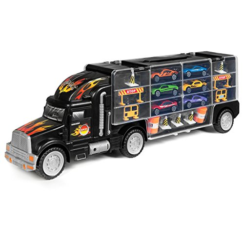 Best Choice Products Kids 2-Sided Transport Car Carrier Semi Truck Toy w/ 18 Cars and 28 Slots - Multicolor