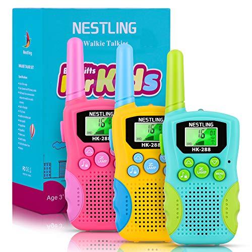 Nestling Walkie Talkie Kinder Spielzeug,8 Kanäle 3 Meilen Reichweite Funkgerät mit Hintergrundbeleuchteter LCD-Taschenlampe und 3 Schlüsselbänder für Abenteuer im Freien, Camping, Wandern