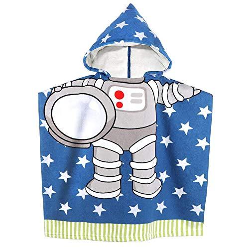 APIKA Toalla de Playa con Capucha para niños Toalla de baño de Microfibra para baño Albornoz con Capucha de Dibujos Animados para niños Toalla de Poncho Linda(Astronauta)