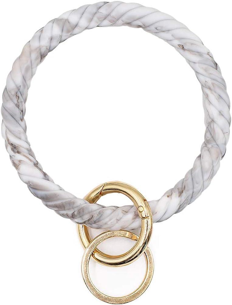 Silicone Key Ring Bracelet,Silicone Bracelet Bangle Wristlet Keychains Tassel