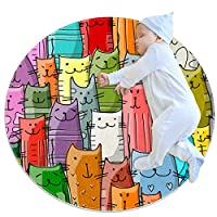 エリアラグ軽量 面白い猫の家族 フロアマットソフトカーペット直径39.4インチホームリビングダイニングルームベッドルーム