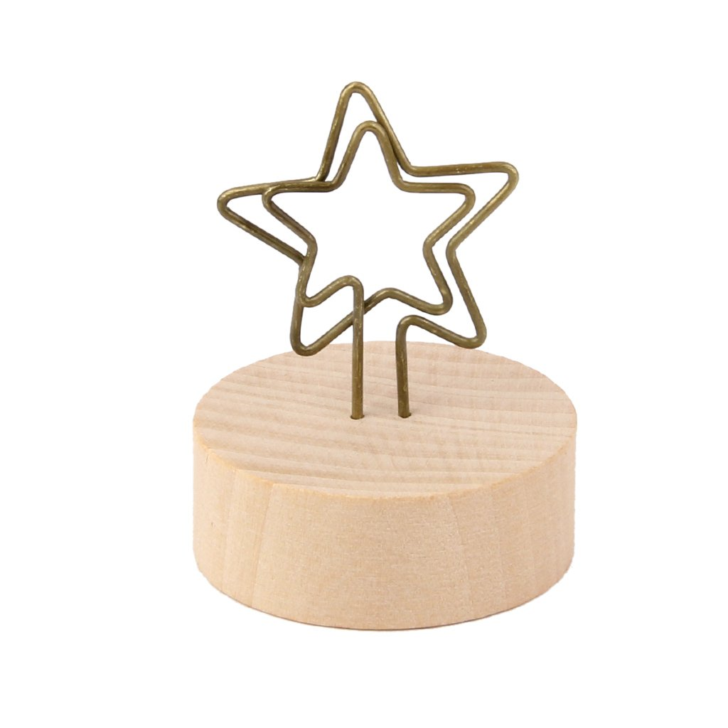 Details about  /9pcs Round Wooden Base Memo Photo Holder Card Paper Note Clip
