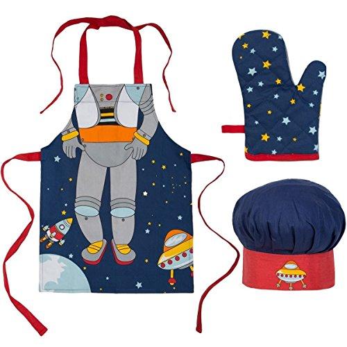 Ladelle Kinderkochset Spaceman, Baumwolle, Mehrfarbig, 30 x 30 x 20 cm, 3-Einheiten
