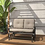 Finefind Patio Glider Bench Outdoor Cushioned 2 Person Swing Loveseat Rocking Seating Patio Swing Rocker Lounge Glider Chair, Gradient Brown