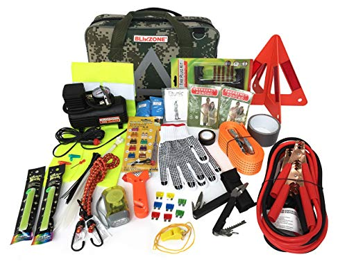 BLIKZONE Auto Roadside Assistance Car Kit Camo 81 Pc for Vehicle Emergency: Portable Air Compressor, Jumper Cables, Tire Repair Kit, Led Flash Light and All Essential Tools to Travel and Drive Safely