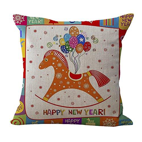 Chezmax cotone lino Natale cuscino quadrato Decor copertura del cuscino decorativo Cuscino di 45,7x 45,7cm