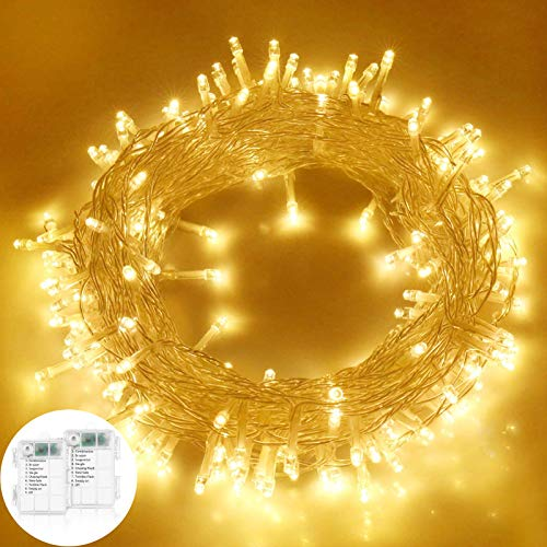 2pcs Led Lichterkette,10M 100LED Lichterketten,LED Lichtervorhang Lichterkette,Warmweiß Weihnachten Lichterkette,Weihnachtsbaum Stimmungslichte,für Zimmer Party Garten DIY Deko