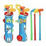 SFANK - Set da golf per bambini, 3 mazze, 3 palline, tee, foro e borsa per il trasporto, per sport all'aria aperta per bambini (blu)