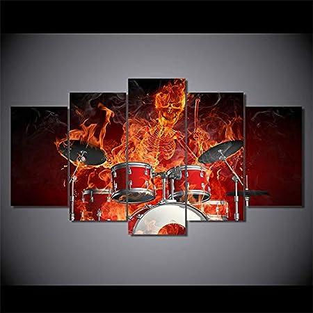 Modular Wohnzimmer Wandkunst Home Decor 5 Panel Skelett Schlagzeuger Sch/ädel Trommeln Feuer Bilder HD gedruckt Leinwand Gem/älde Gr/ö/ße 1 Kein Rahmen