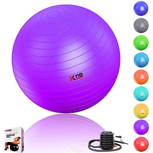 Pelota de gimnasia para ejercicio, gimnasio, yoga, embarazo, antiexplosiones de 65cm, de Xn8 Sports, mujer hombre, Purple (With Pump), One Size (65cm )