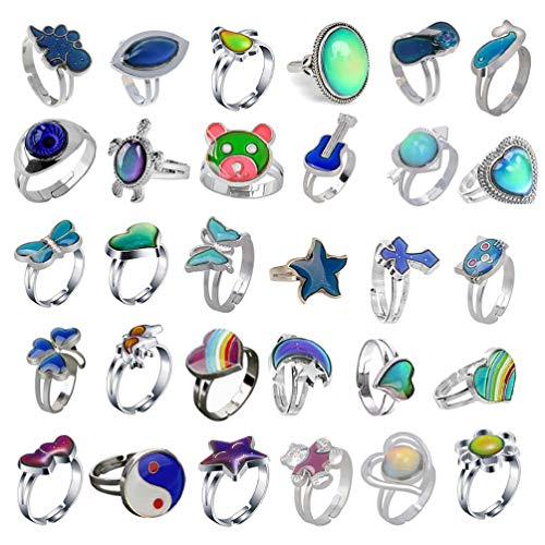 30 Styles Color Change Mood Ring Band Kit - Emotion Feeling Adjustable Size Temperature Finger Rings Kit for Aults Kids Fashion Rings for Women Adjustable Teenage Girls Men Boys Silver Cheap Gothic