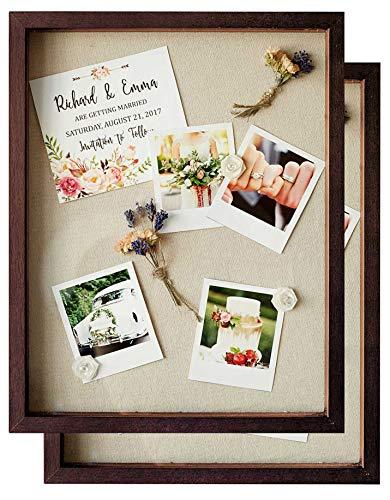 Shadow Box Display Case - Set of 2 Walnut Brown Deep Wood Shadowbox Frame 11x14 with Linen Board -...