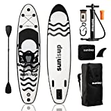 """SUNISUP SUP Inflatable Paddle Board, 10.6' x 30"""" x 6', Non-Slip Stand Up Deck with Detachable Kayak Seat, Fishing Rod Mount, Paddleboard Accessories with Air Pump, Bag, Ankle Leash, Go Pro Mount"""
