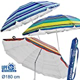 H HANSEL HOME Sombrilla Playa Plegable de Nylon Solar UPF +50 3/C 180 CM