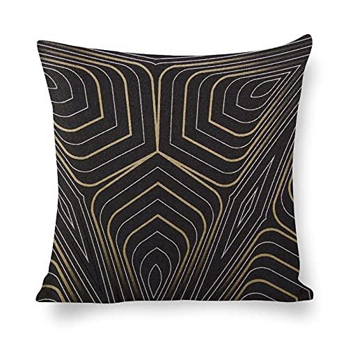 PotteLove Funda de almohada 100% algodón natural y lino para el cabello y la piel con cremallera oculta ambos lados decoración negro oro y plata geométrica
