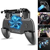 Wallfire Mobile Phone Game Controller Gamepad Joystick Fire Mobile Gaming Trigger with Cooling Fan for PUBG /Fortnite/Rules of Survival Gaming Grip for 4.5-6.5inch Android iOS Phone 4000mah Power Bank