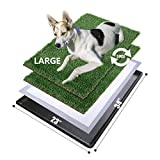 MEEXPAWS Large Dog Grass Toilet with Tray | 34×23 inches| 2 Artificial Grass