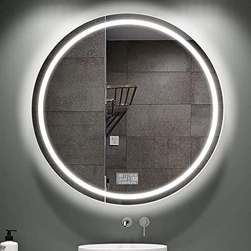 QTWW Espejo de baño Redondo con iluminación LED, Superficie de Espejo a Prueba de explosiones de Alta definición Regulable