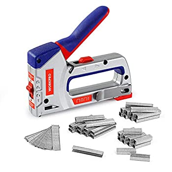 WORKPRO Heavy-Duty 4-in-1 Staple Gun Kit Manual Brad Nailer with 3000 Staples and 1000 Brad Nails for Upholstery Material Repair Decoration Furniture Doors Windows Carpentry & Home DIY Use
