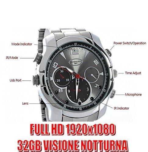 Reloj con cámara espía 32GB correa acero Full HD infrarrojos Night Vision Cam cw133comprareweb