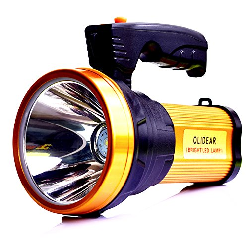 Olidear Rechargeable LED Spotlight Super Bright Large Flashlight Handheld Searchlight with USB Cable golden