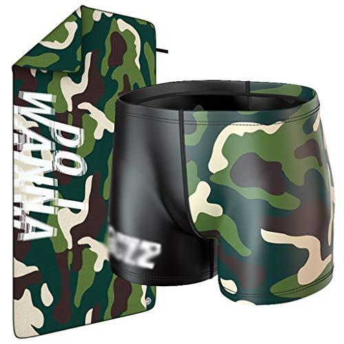 Heren Boxer Camouflage Zwembroek Zwembadhanddoek, Waterdichte Quick Dry Strandhanddoek Fitness Tweedelig Surfapparatuur Smart Sunscreen