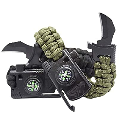 2 Pack- Paracord Survival Bracelets with Knife by Outdoors7-5 in 1 Bracelet with 550 LB Cord, para-Claw, Fire Starter, Compass, Whistle- Tactical Multi-Tool for Hiking, Camping, or Emergency by Outdoors 7