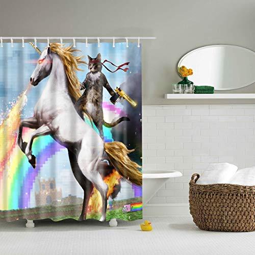 WEIZHE Hermoso Arco Iris sobre un Fondo Azul Blanco Lindo Unicornio Cat Cortina de baño Tela Duradera Moho Accesorios de baño creativos con 12 Ganchos 180X180 CM