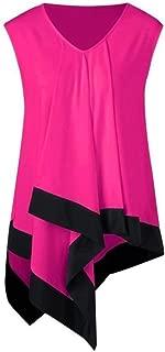 Womens Summer V Neck Sleeveless Irregular Blouse Tops Casual Loose T-Shirts