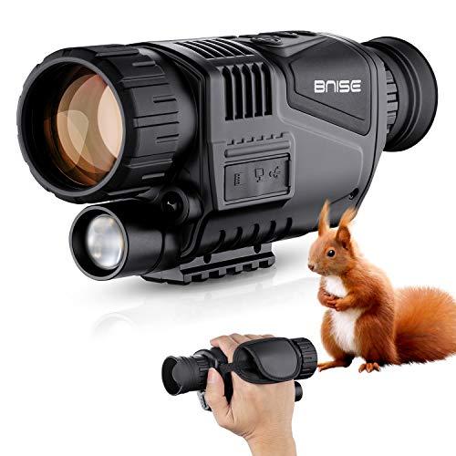 BNISE 5X40 Monocular Infrarrojo de Visión Nocturna HD Cámara Digital; Distancia de Visión de 200m en La Oscuridad; Tarjeta TF de 8G; para Caza y Vida Silvestre