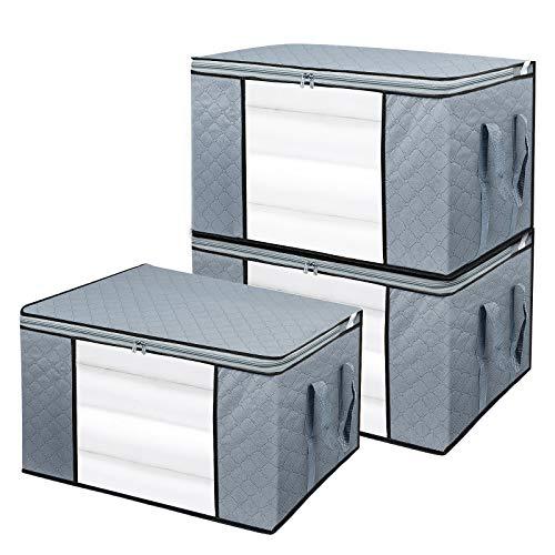 BoxLegend 3 Stück 90L Aufbewahrungstasche Organizer mit großer Kapazität und verstärktem Griff, dickem Stoff, großes, klares Fenster für Bettdecken, Decken, Bettwäsche, Plüschtiere,Steppdecken