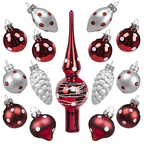 Art Beauty Christmas Baubles Glass Mini Miniature 3CM Xmas Tree Decorations Ornaments Balls with Topper 15 Pcs Table Centerpiece for Wedding Party Banquet (Polka Dot)