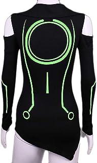 Quorra Kwai T-Shirt à Manches Courtes à Manches Longues pour Femmes,Green-M