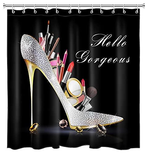 EOBTAIN High Heels Diamond Shower Curtain Makeup Hello Gorgeous Lipstick Bling Fashion Shoes Sexy Girls Fancy Beautiful Lady Bathroom Curtain 69x70 Inch Waterproof Fabric with 12 Hooks Silver Black