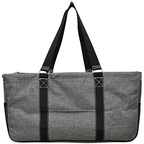 N. Gil All Purpose Open Top 23' Classic Extra Large Utility Tote Bag 4-2017 Fall New Pattern (Crosshatch Grey)