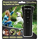 DwellMy Barking Control Device, Dog Training for Home and The Outdoors, Dog Barking Control and Trainer with LED Flashlight, Black