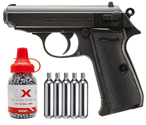 Wearable4U Umarex Walther PPK/S CO2 Blowback Semi Auto Air Pistol BB Airgun with 5 pcs of 12gr CO2 Tanks Pack of 1500 4.5mm (.177) Steel BBS Bundle