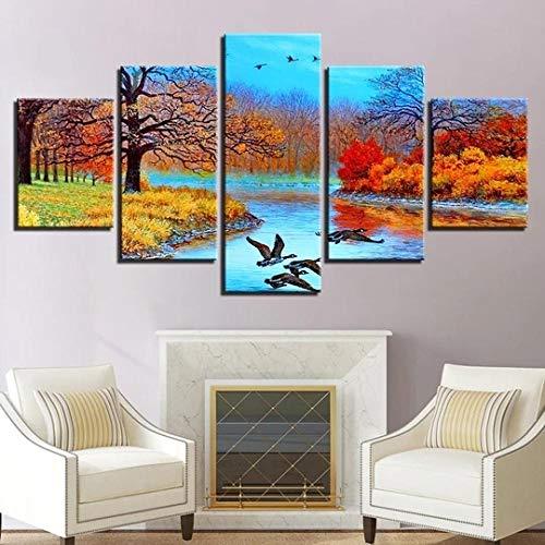 GSDFSD Cuadro en Lienzo 200x100 cm Impresión de 5 Piezas Abstract Forest Lake & Birds Material Tejido no Tejido Impresión Artística Imagen Gráfica Decoracion de Pared