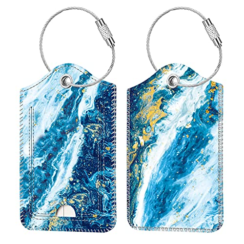 2 Pcs Luggage Tags, Fintie Privacy Cover ID Label with Stainless Steel Loop and Address Card for Travel Bag Suitcase (Sandy Wave)