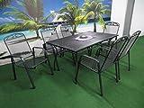 7-teilige Luxus Streckmetall Gartenmöbelgruppe von MFG und RRR, Stapelsessel und Gartentisch 150x90 anthrazit, P22