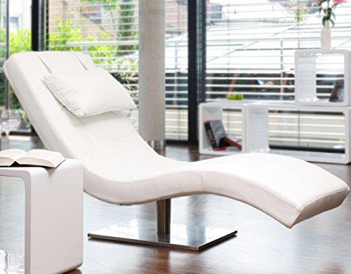 SalesFever Designer-Liege Chaise-Longue aus Kunstleder weiß mit vernickeltem Gestell | Siara | Relax-Liege zum Entspannen aus hochwertigem Kunstleder Weiss | Moderner Liege-Sessel für Ihr Wohnzimmer