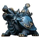 Statuette de Bouddha COPPER Lucky Dragon Turtle Decoration Bureau Meubles Feuillette Craft Bijoux Figurines d'animaux sculptés à la main Meilleur cadeau de ménage 9.4 'x 6.3' x 7 ' décoration