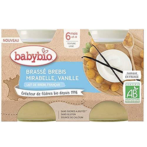 BABYBIO - Lait de Brebis français - Petits Pots Brassé Mirabelle de France Vanille 2x130g - 6 Mois - BIO