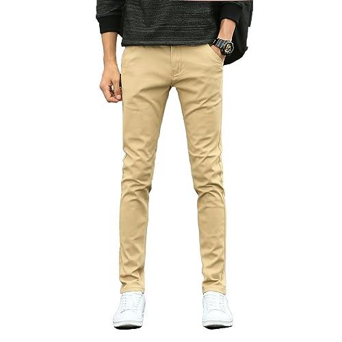 aa800145d11 Plaid Plain Men s Skinny Stretchy Khaki Pants Colored Pants Slim Fit Slacks  Tapered Trousers