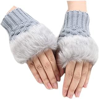 Yu Li Women Winter Warmer Fingerless Gloves Knitted Faux Rabbit Fur Wrist Mitten Cold Weather Gloves
