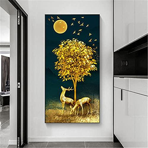 DIY 5D Kits de Pintura de Diamantes Árbol de ciervo dorado Adultos Pintura Diamante Taladro Completo Rhinestone Bordado Punto de Cruz Artesanía,para el hogar Decoración de la Pared Regalo 80x220cm