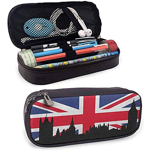Union Jack Pencil Case Houses Of The Parliament Silhouette On UK Flag Historic Urban Skyline