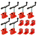 """(6 Pack) 1/2"""" Wood Gluing Pipe Clamp Set Heavy Duty PRO Woodworking Cast Iron"""